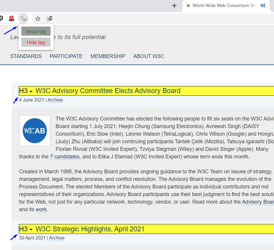 תוסף לכרום - H-tag הצגת כותרות HTML שבעמוד